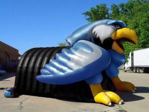 Inflatable eagle mascot tunnel