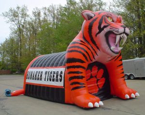 Inflatable tiger mascot tunnel