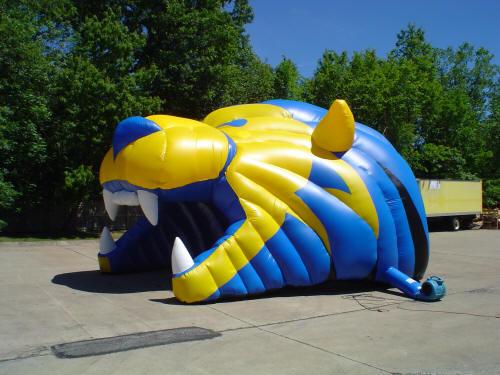 lion head mascot tunnel